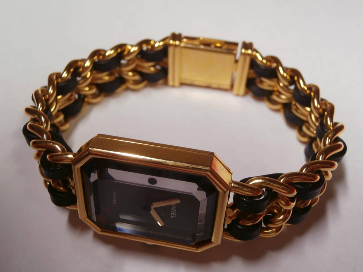 △7bb CHANEL シャネル 腕時計 プルミエール PLAQUE OR G 20 M 電池交換済み 本物保証_画像7