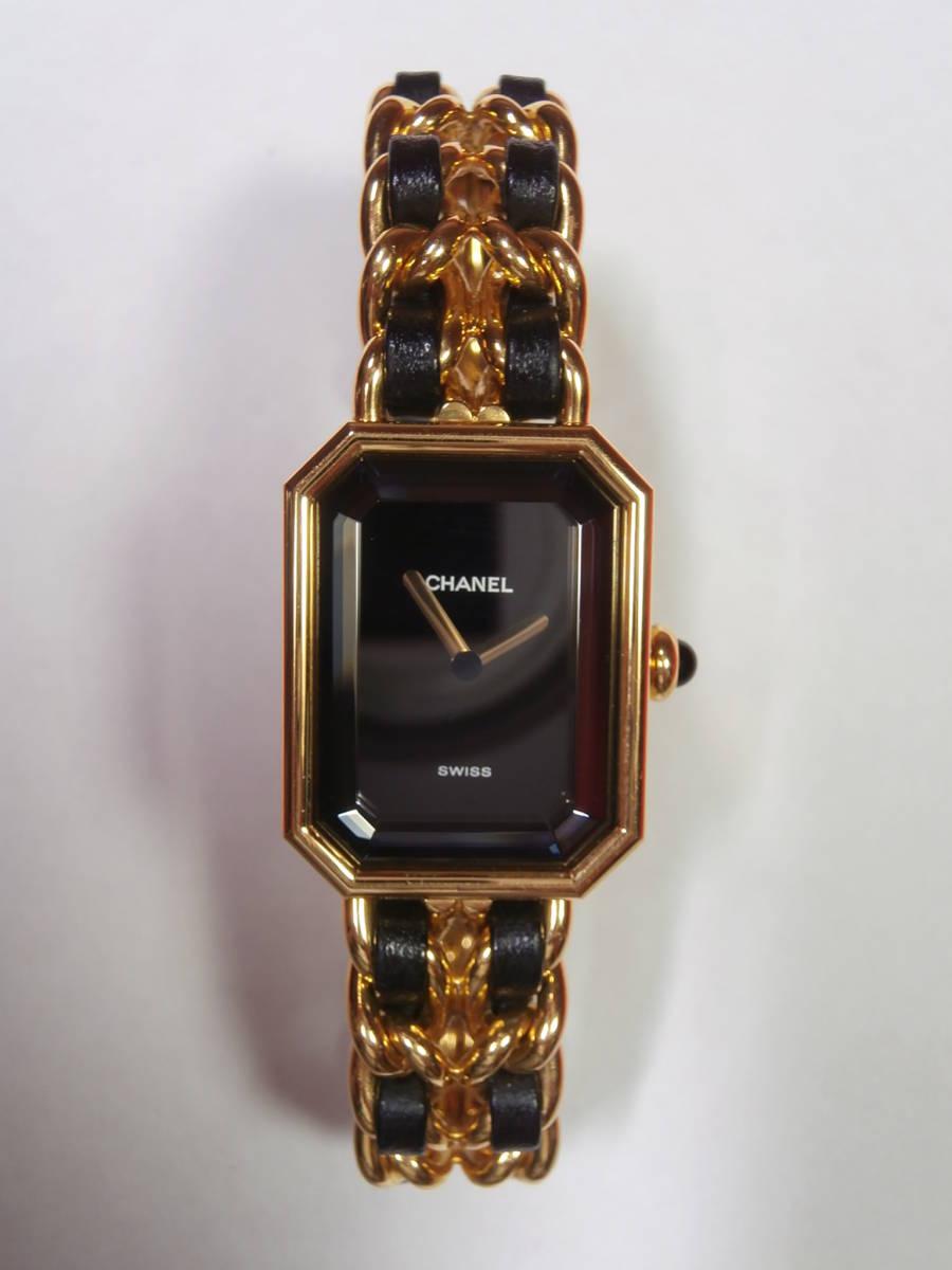 △7bb CHANEL シャネル 腕時計 プルミエール PLAQUE OR G 20 M 電池交換済み 本物保証