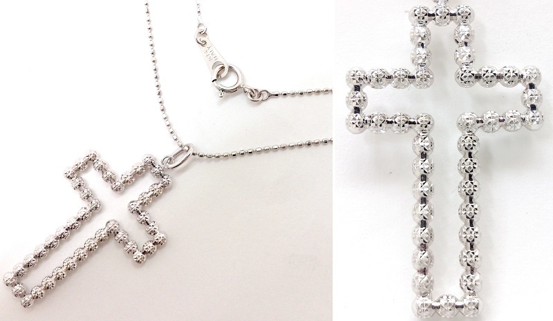 K18+K14WG 18金+14金ホワイトゴールド デザインジュエリー クロスペンダントネックレス 十字架/カットボール 約40cm 美品/切手払い可_画像3