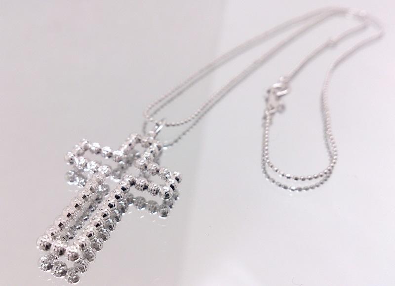 K18+K14WG 18金+14金ホワイトゴールド デザインジュエリー クロスペンダントネックレス 十字架/カットボール 約40cm 美品/切手払い可