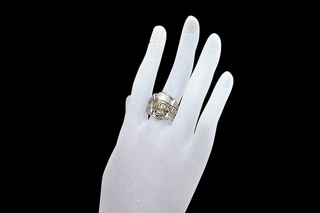 MITSUO KAJI/ミツオ カジ 梶 光夫 スカル 指輪 K18WG×ルビー×ダイヤモンド_画像8
