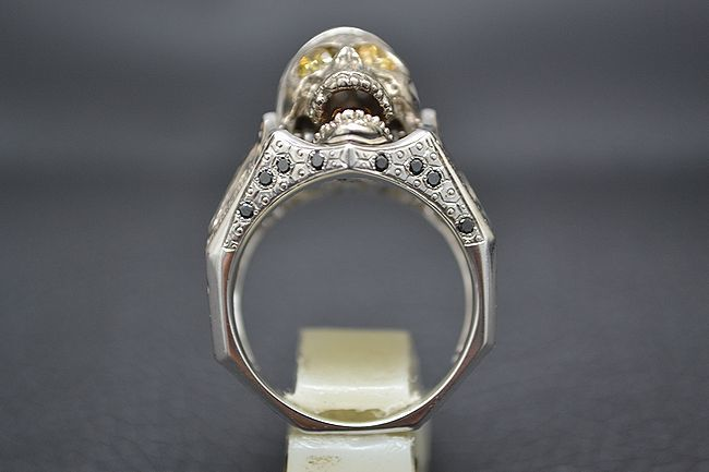MITSUO KAJI/ミツオ カジ 梶 光夫 スカル 指輪 K18WG×ルビー×ダイヤモンド_画像5