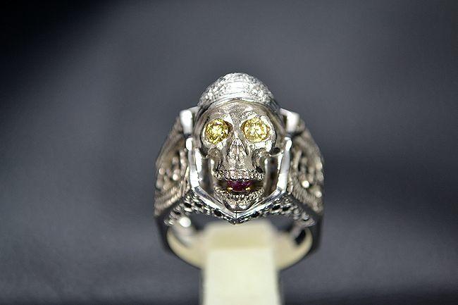 MITSUO KAJI/ミツオ カジ 梶 光夫 スカル 指輪 K18WG×ルビー×ダイヤモンド_画像1
