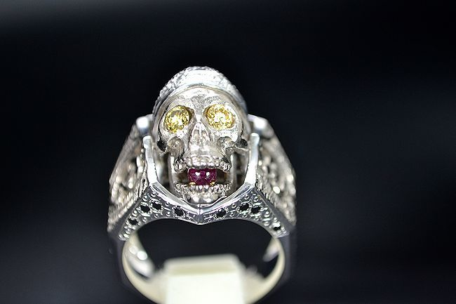 MITSUO KAJI/ミツオ カジ 梶 光夫 スカル 指輪 K18WG×ルビー×ダイヤモンド_画像7