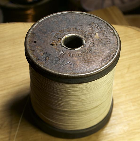 (極上品格)ヴィンテージ ROEBLING AWG34 裸銅線 (コットンカバー)4メートル_画像1