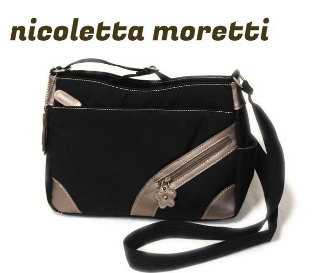 ナイロン ショルダーバッグ レディース ブラック 軽い 斜め掛け nicoletta moretti   日常撥水 たくさん入る かばん 鞄 女性 シニア 黒_画像1