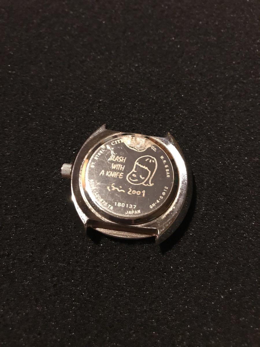 送料込 2001年シチズン製 『奈良美智』 腕時計 缶ケース付き SLASH WITH A KNIFE 希少 現代アート_画像4