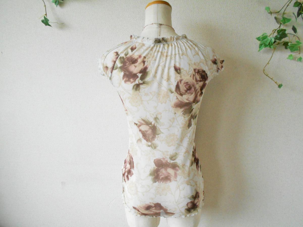 レストローズ LEST ROSE 総 チュール 胸 リボン の 可愛い 花柄 ブラウス カットソー M_画像6