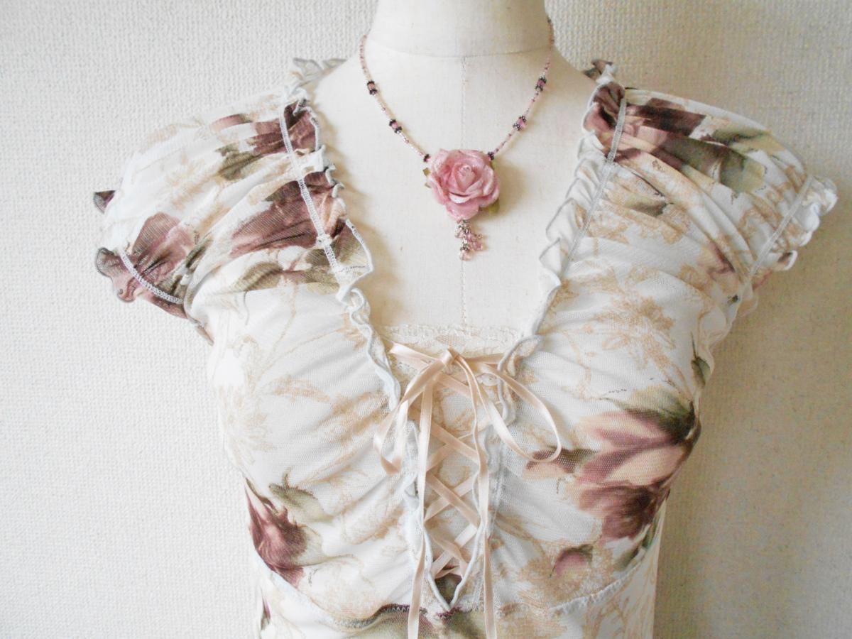 レストローズ LEST ROSE 総 チュール 胸 リボン の 可愛い 花柄 ブラウス カットソー M_画像2