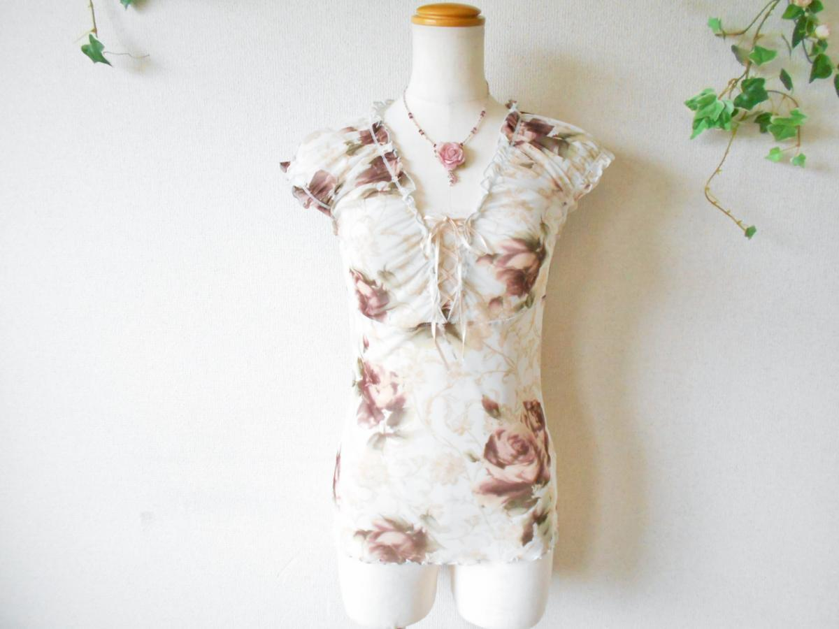 レストローズ LEST ROSE 総 チュール 胸 リボン の 可愛い 花柄 ブラウス カットソー M_画像1