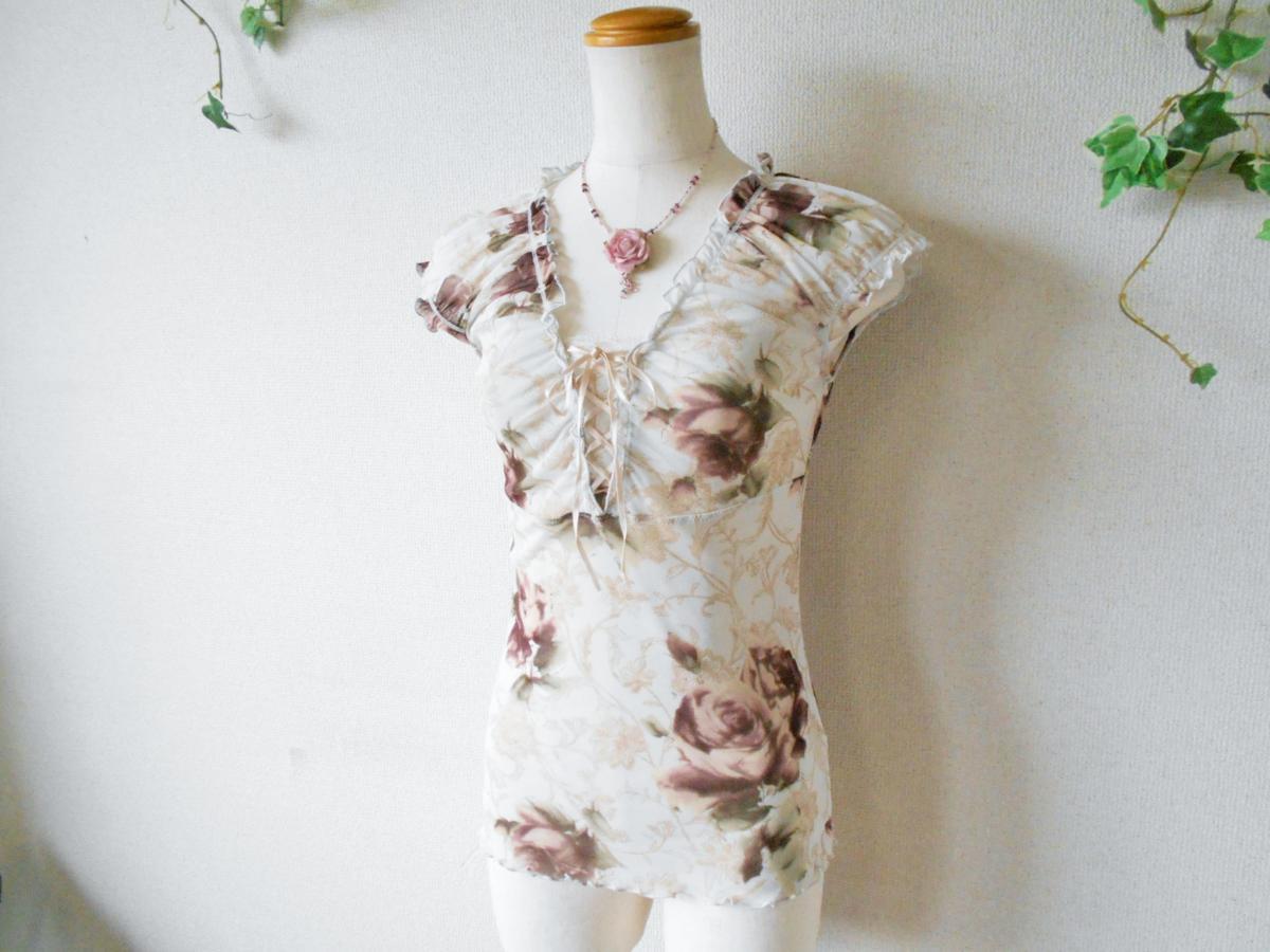 レストローズ LEST ROSE 総 チュール 胸 リボン の 可愛い 花柄 ブラウス カットソー M_画像4