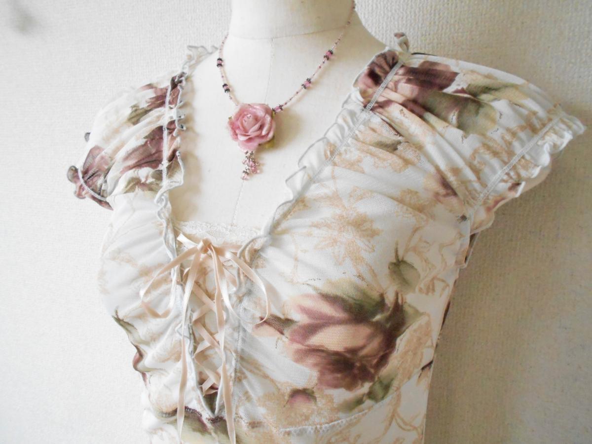 レストローズ LEST ROSE 総 チュール 胸 リボン の 可愛い 花柄 ブラウス カットソー M_画像3