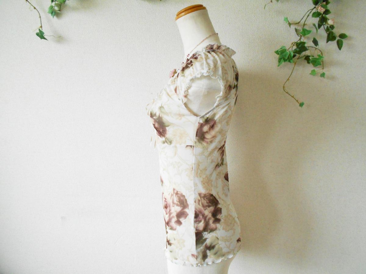 レストローズ LEST ROSE 総 チュール 胸 リボン の 可愛い 花柄 ブラウス カットソー M_画像5
