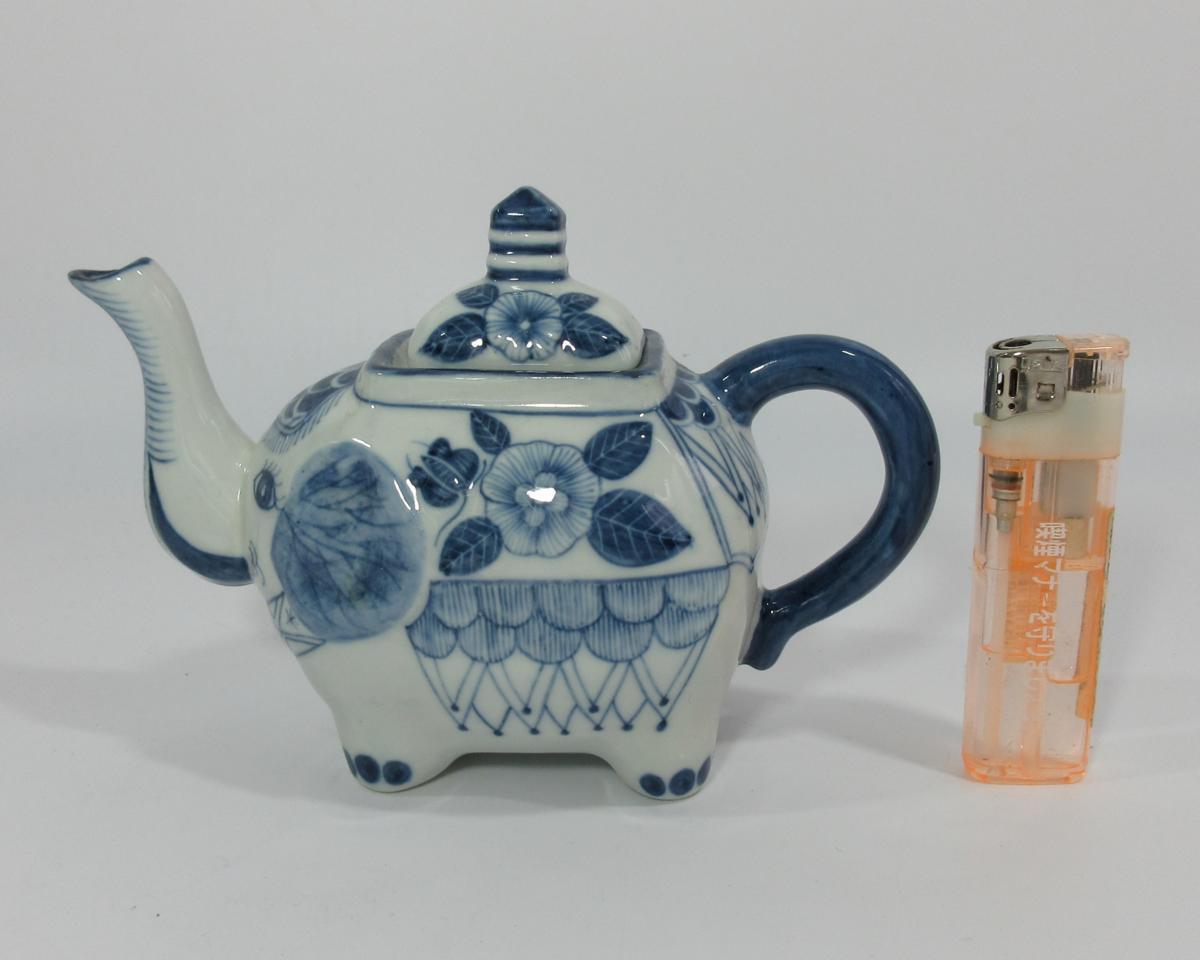 ■タイ製 ハンドペイント 手描き 象 象型 ティーポット 急須 陶器 タイ雑貨 a32