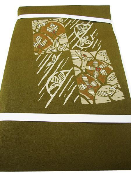 時代屋 値下げ!紬 小紋 縮緬地 海松色 なごや帯 正絹 未使用 たいこ柄 N020_画像1