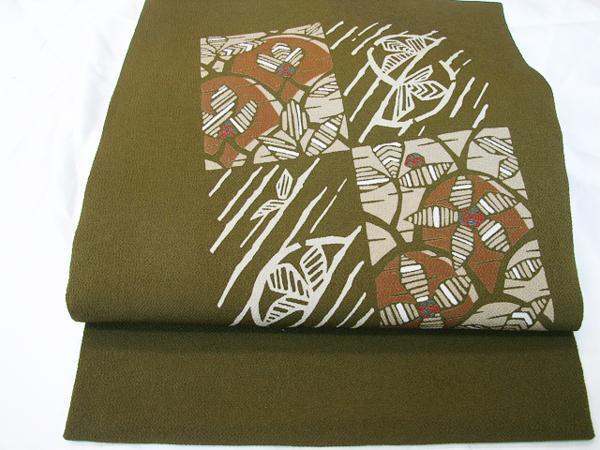 時代屋 値下げ!紬 小紋 縮緬地 海松色 なごや帯 正絹 未使用 たいこ柄 N020_画像3