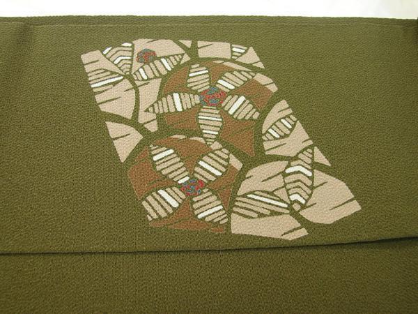 時代屋 値下げ!紬 小紋 縮緬地 海松色 なごや帯 正絹 未使用 たいこ柄 N020_画像4