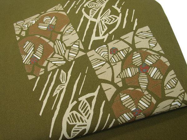 時代屋 値下げ!紬 小紋 縮緬地 海松色 なごや帯 正絹 未使用 たいこ柄 N020_画像2