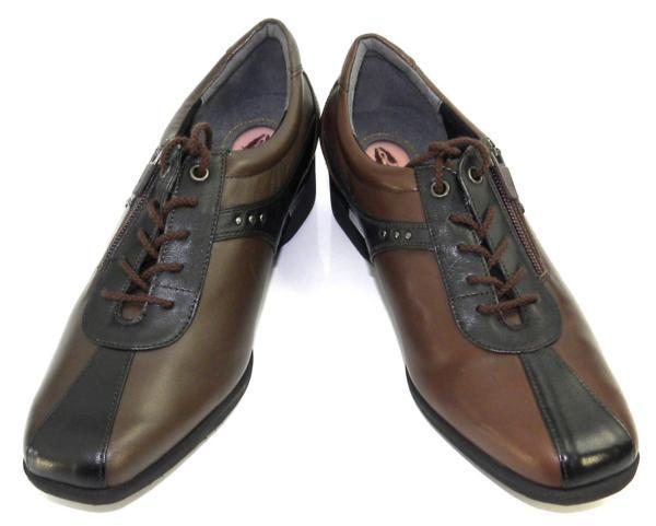 レディース左右サイズ違い靴 ハッシュパピー Hush Puppies 本革レディースレースアップヒールスニーカー 左24cm右24.5cm 幅広3E 茶 S4805_画像3
