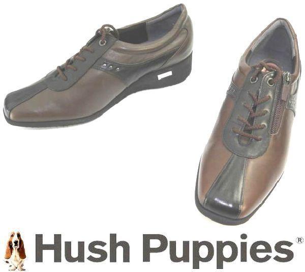 レディース左右サイズ違い靴 ハッシュパピー Hush Puppies 本革レディースレースアップヒールスニーカー 左24cm右24.5cm 幅広3E 茶 S4805_画像1