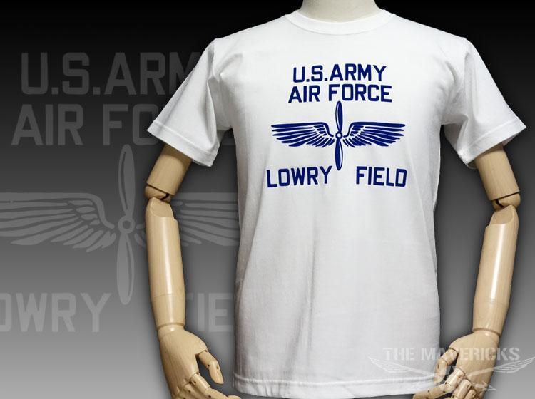 極厚 Tシャツ S スーパーヘビーウェイト フロッキー LOWRY FIELD ARMYエアフォース米陸軍航空隊 / 白 ホワイト_画像1