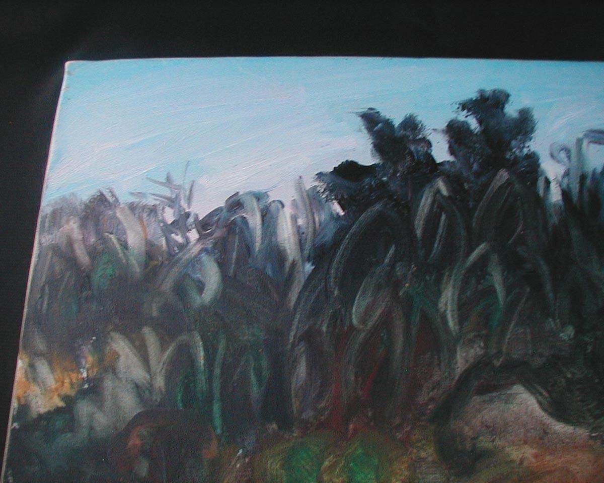 松本俊郎 油彩「鎌倉の山」 1973年作品F10号  §洋画家油絵風景画肉筆サイン有り直筆真作欅木枠額装ガラス入り白楽展主宰_画像4