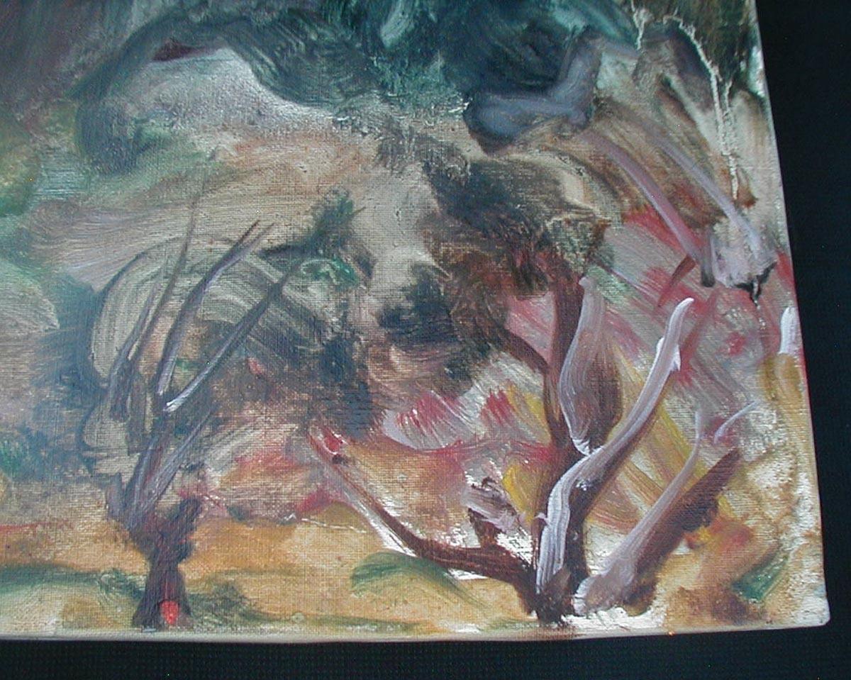 松本俊郎 油彩「鎌倉の山」 1973年作品F10号  §洋画家油絵風景画肉筆サイン有り直筆真作欅木枠額装ガラス入り白楽展主宰_画像7