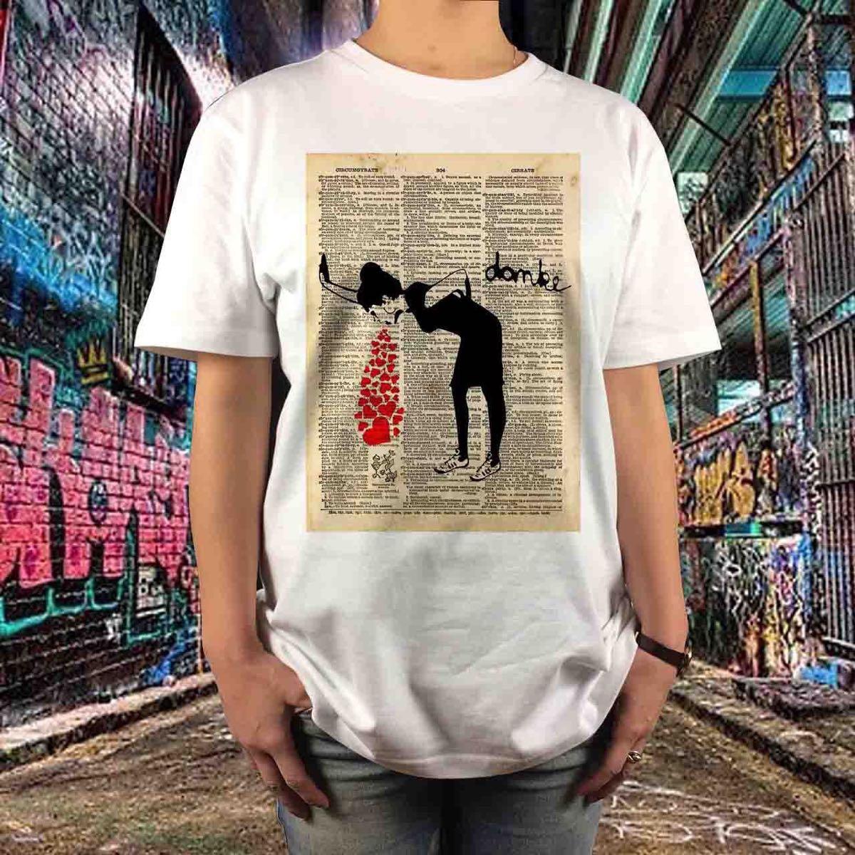 新品 BANKSY バンクシー ゲロ ハート グラフィティ ペーパー アート Tシャツ S M L XL ビッグ オーバー サイズ XXL ~ 5XL 長袖 黒 対応_画像1