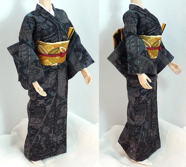 ■1/6ドール ファイセン / 和服 紺色の結城紬_画像3