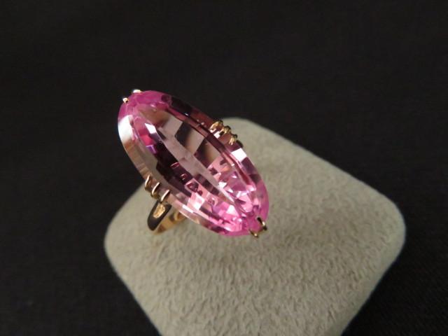K18 アンティークデザイン リング / ビンテージ 指輪 ピンク石