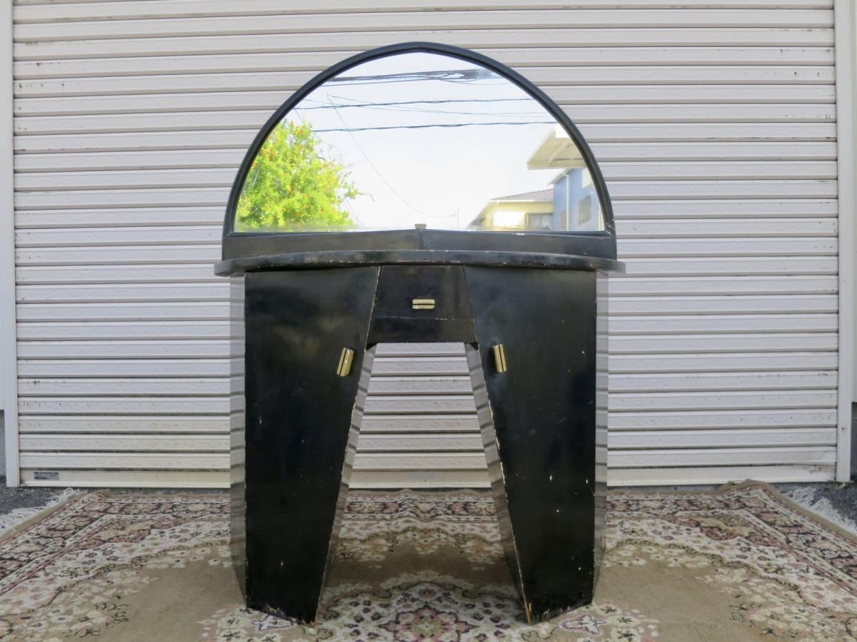 ビンテージ 30-40's アールデコドレッサー アールデコ 鏡 アート ヨーロッパ デザイン インテリア ブラック 店舗什器 収納家具_画像2