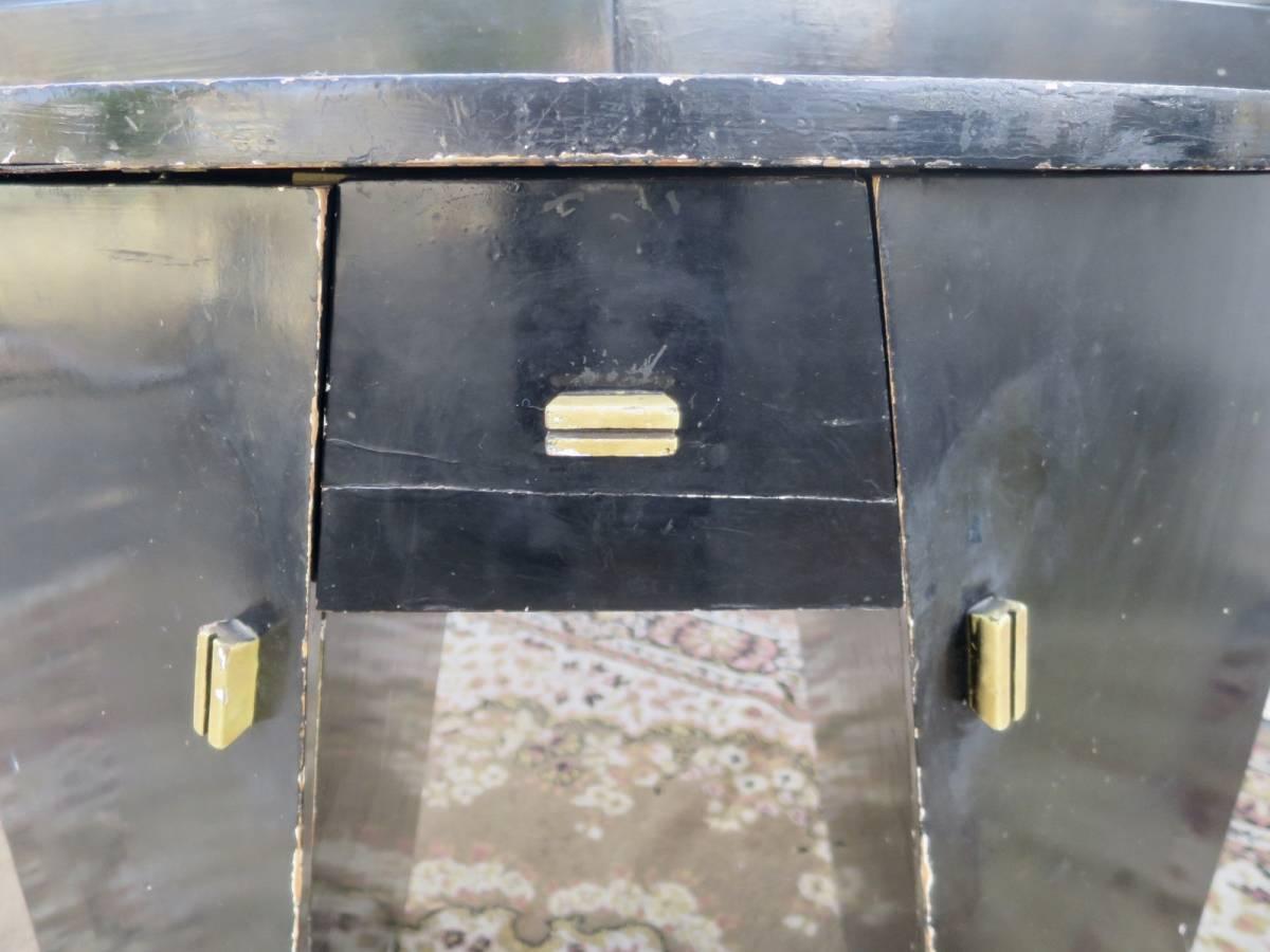 ビンテージ 30-40's アールデコドレッサー アールデコ 鏡 アート ヨーロッパ デザイン インテリア ブラック 店舗什器 収納家具_画像10