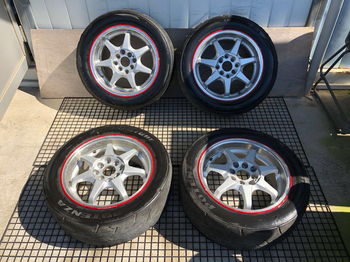 社外品 195/55R15 6.5J+46位 4穴 PCD100、114.3 15インチ セミスリック マルチ タイヤホイール 4本セット 62