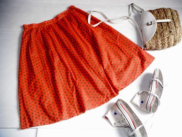 美品☆Chez-voeuシェヴー☆アジアンテイスト柄が可愛い綿スカート オレンジ橙 日本製 レディース ボトムス☆サイズ38_画像1