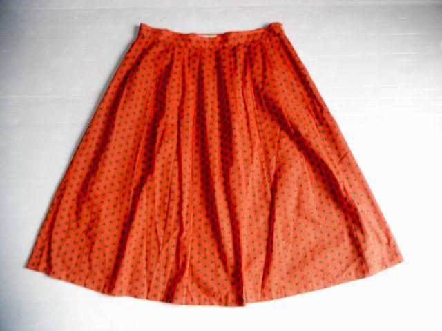 美品☆Chez-voeuシェヴー☆アジアンテイスト柄が可愛い綿スカート オレンジ橙 日本製 レディース ボトムス☆サイズ38_画像2