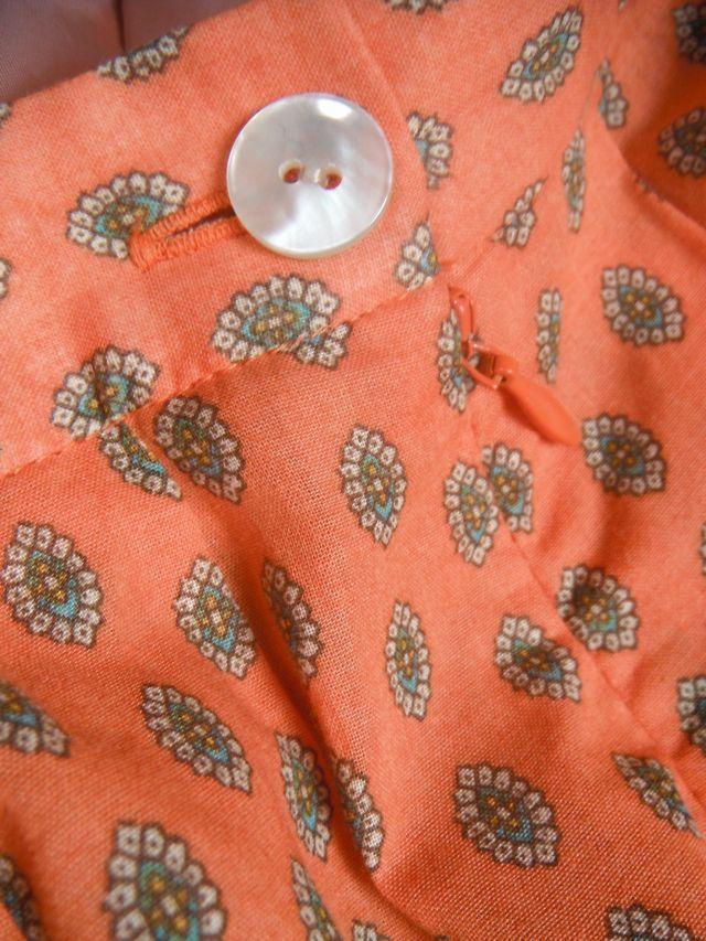 美品☆Chez-voeuシェヴー☆アジアンテイスト柄が可愛い綿スカート オレンジ橙 日本製 レディース ボトムス☆サイズ38_画像4