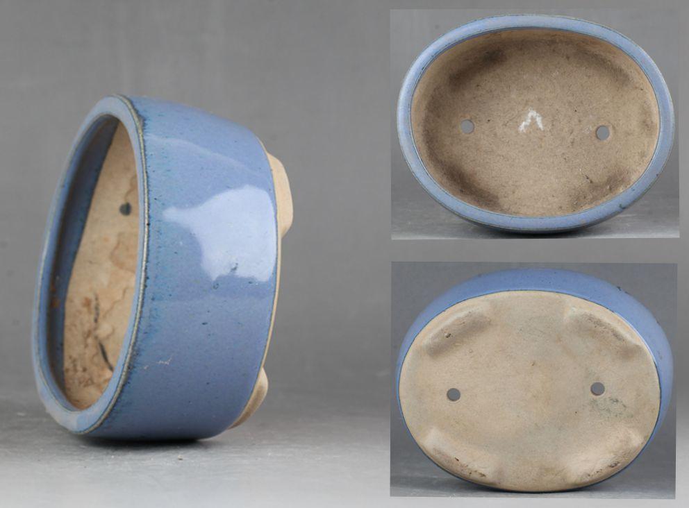 中国古盆器 均釉 楕円鉢 盆栽鉢!直径12.5 cm、高さ4.6 cm _画像1