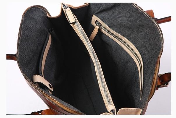 【買い付け一点物シリーズ】本革イタリアンレザー ビジネスバッグ ブリーフケース 旅行鞄 ブラック_画像4