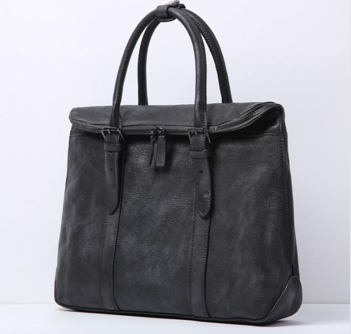 【買い付け一点物シリーズ】本革イタリアンレザー ビジネスバッグ ブリーフケース 旅行鞄 ブラック_画像2