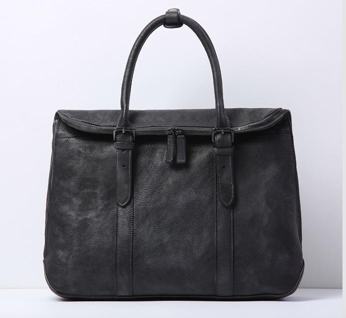 【買い付け一点物シリーズ】本革イタリアンレザー ビジネスバッグ ブリーフケース 旅行鞄 ブラック