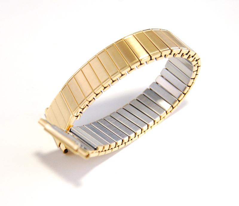 デッドストック メンズウォッチバンド ビンテージ・ヴィンテージ 男性時計ベルト ステンレススチール 伸縮ブレス MB189_画像3