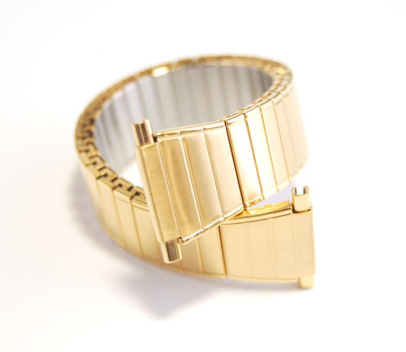 デッドストック メンズウォッチバンド ビンテージ・ヴィンテージ 男性時計ベルト ステンレススチール 伸縮ブレス MB189_画像1