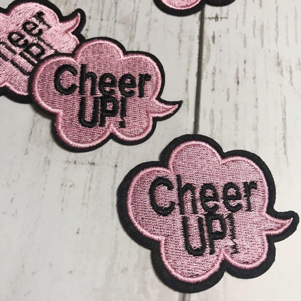 【ワッペン】「cheer up!」頑張れ☆英文吹き出し★アイロンワッペン☆入園入学新学期運動会準備にアップリケ_画像1