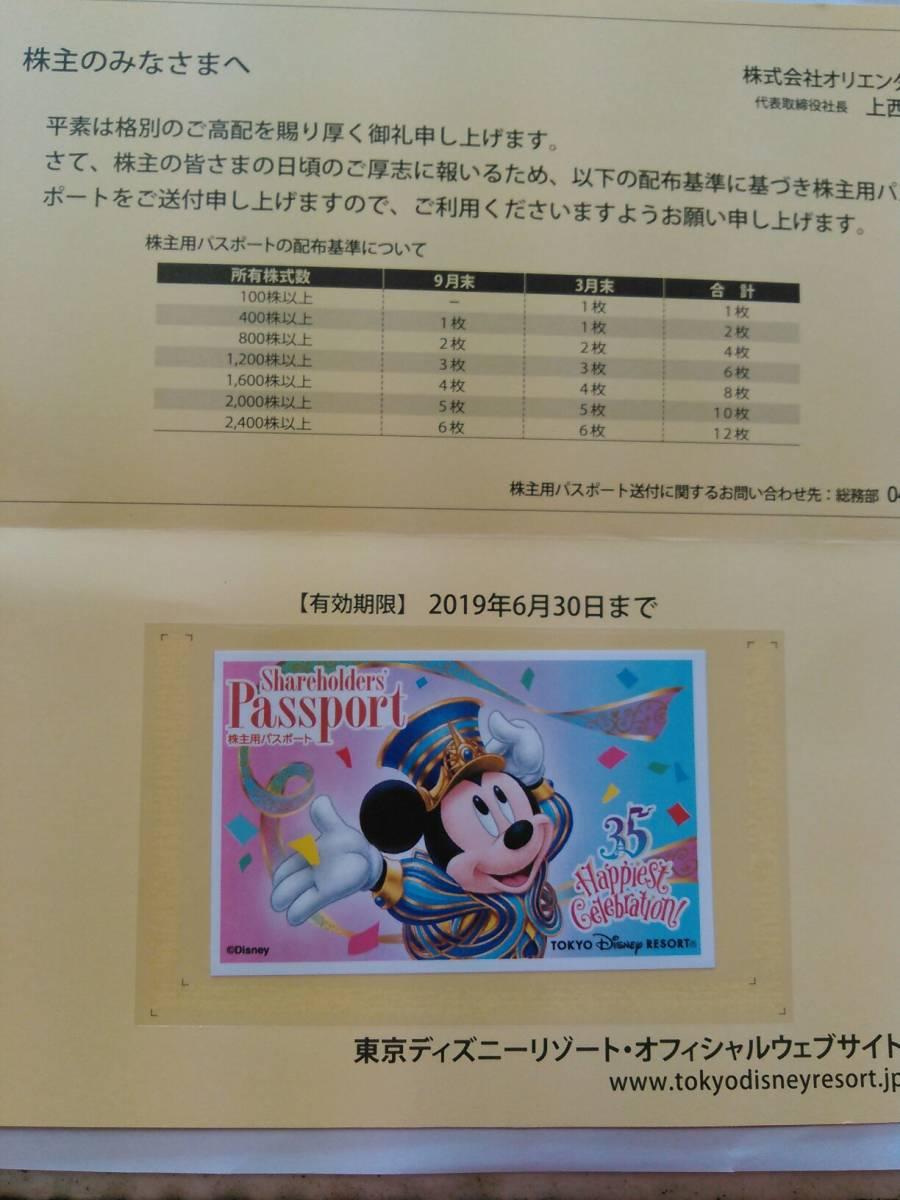 東京ディズニーランド・ ディズニーシー 共通チケット 株主優待パスポート 2019/6/30 1枚 (送料込み)