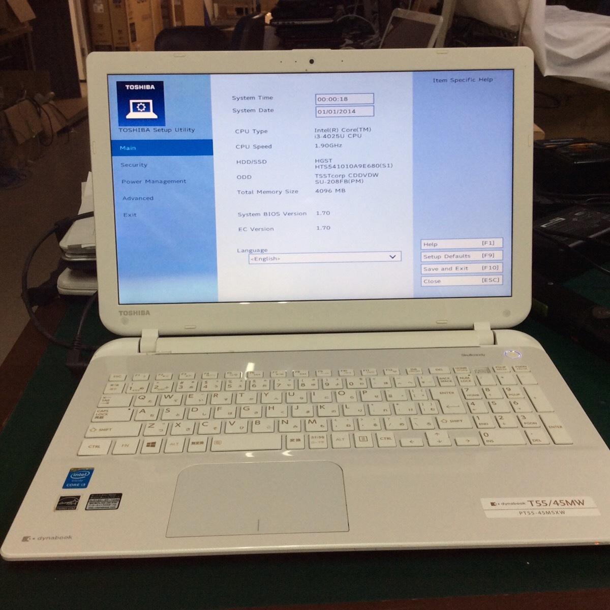 【ジャンク品】[K0611(4)]ノートパソコン 東芝 PT55-45MSXW HDDなし メモリなし 1円スタート
