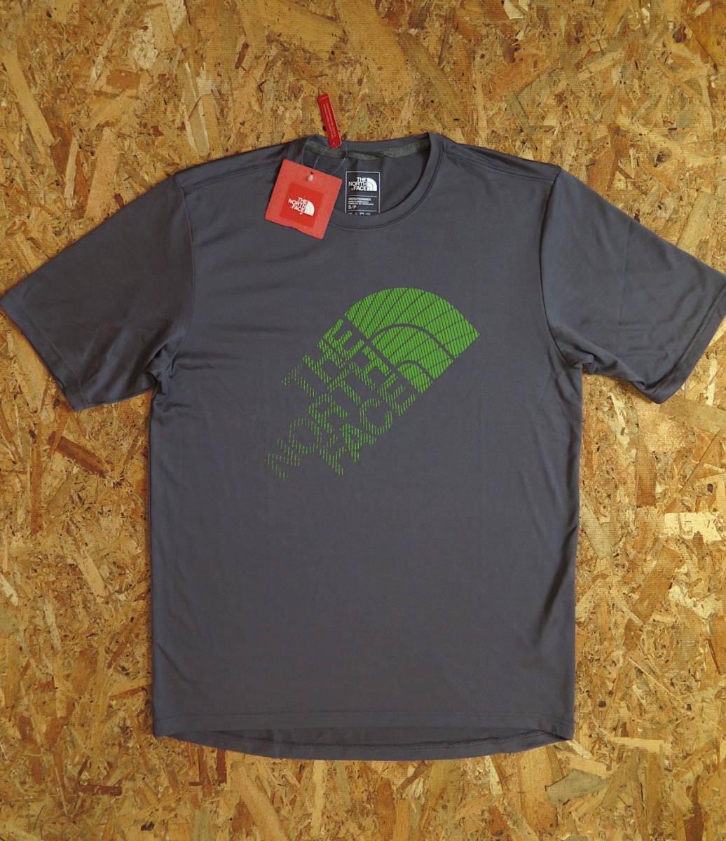 新品☆本物 NY購入 THE NORTH FACE ロゴ Tシャツ Mサイズ ノースフェイス LOGO S/S TEE USA限定 日本未発売モデル T-SHIRT D.GRAY/GREEN