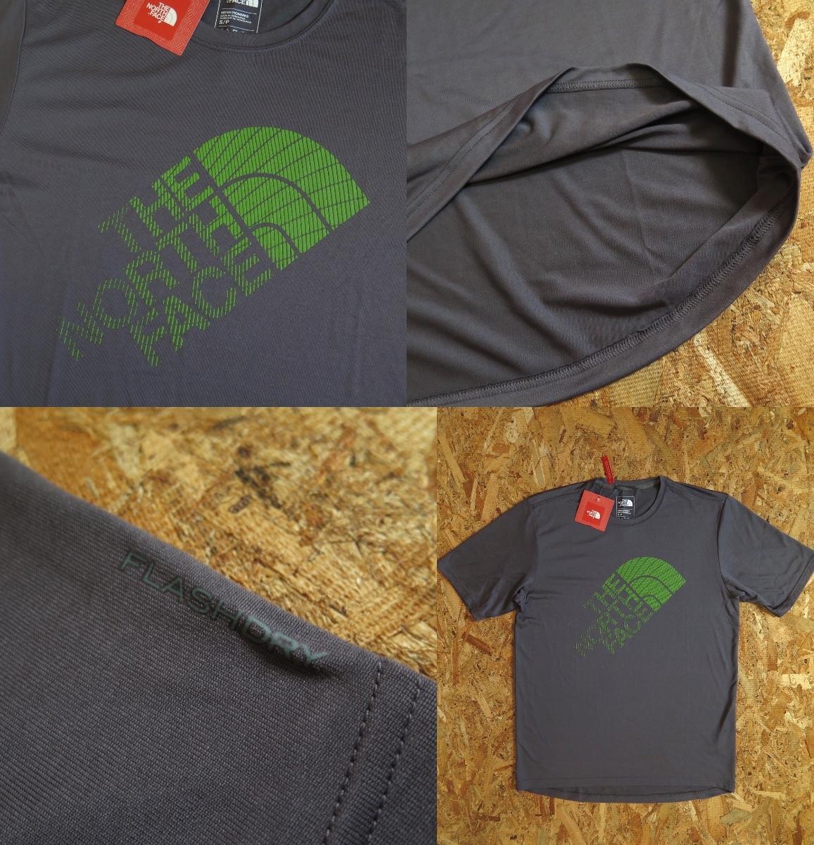 新品☆本物 NY購入 THE NORTH FACE ロゴ Tシャツ Mサイズ ノースフェイス LOGO S/S TEE USA限定 日本未発売モデル T-SHIRT D.GRAY/GREEN_画像8
