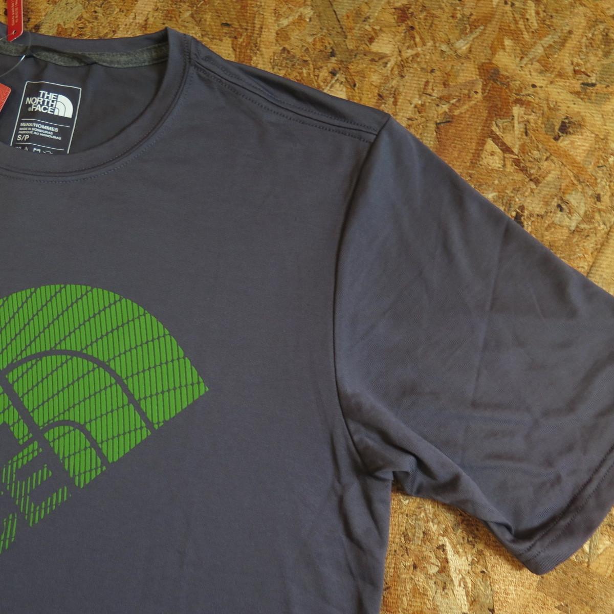 新品☆本物 NY購入 THE NORTH FACE ロゴ Tシャツ Mサイズ ノースフェイス LOGO S/S TEE USA限定 日本未発売モデル T-SHIRT D.GRAY/GREEN_画像5
