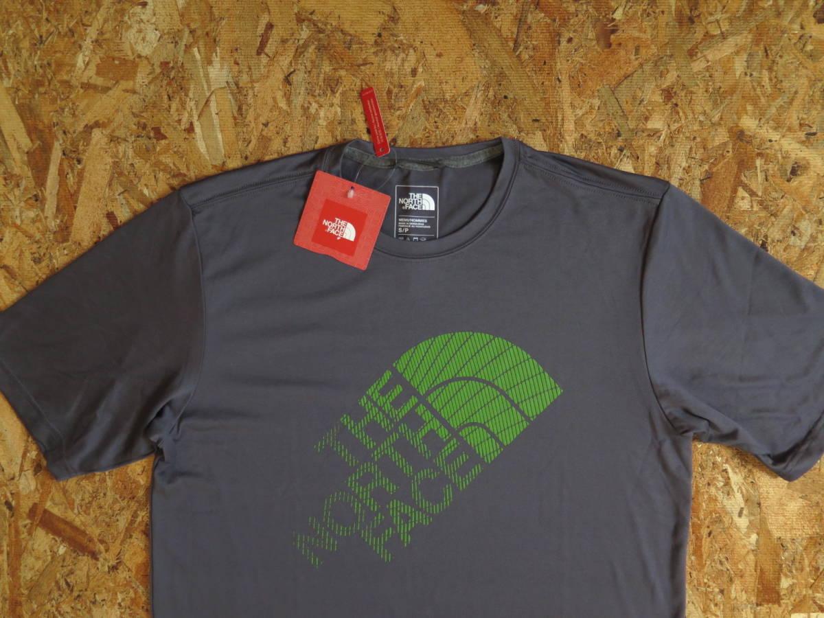 新品☆本物 NY購入 THE NORTH FACE ロゴ Tシャツ Mサイズ ノースフェイス LOGO S/S TEE USA限定 日本未発売モデル T-SHIRT D.GRAY/GREEN_画像3