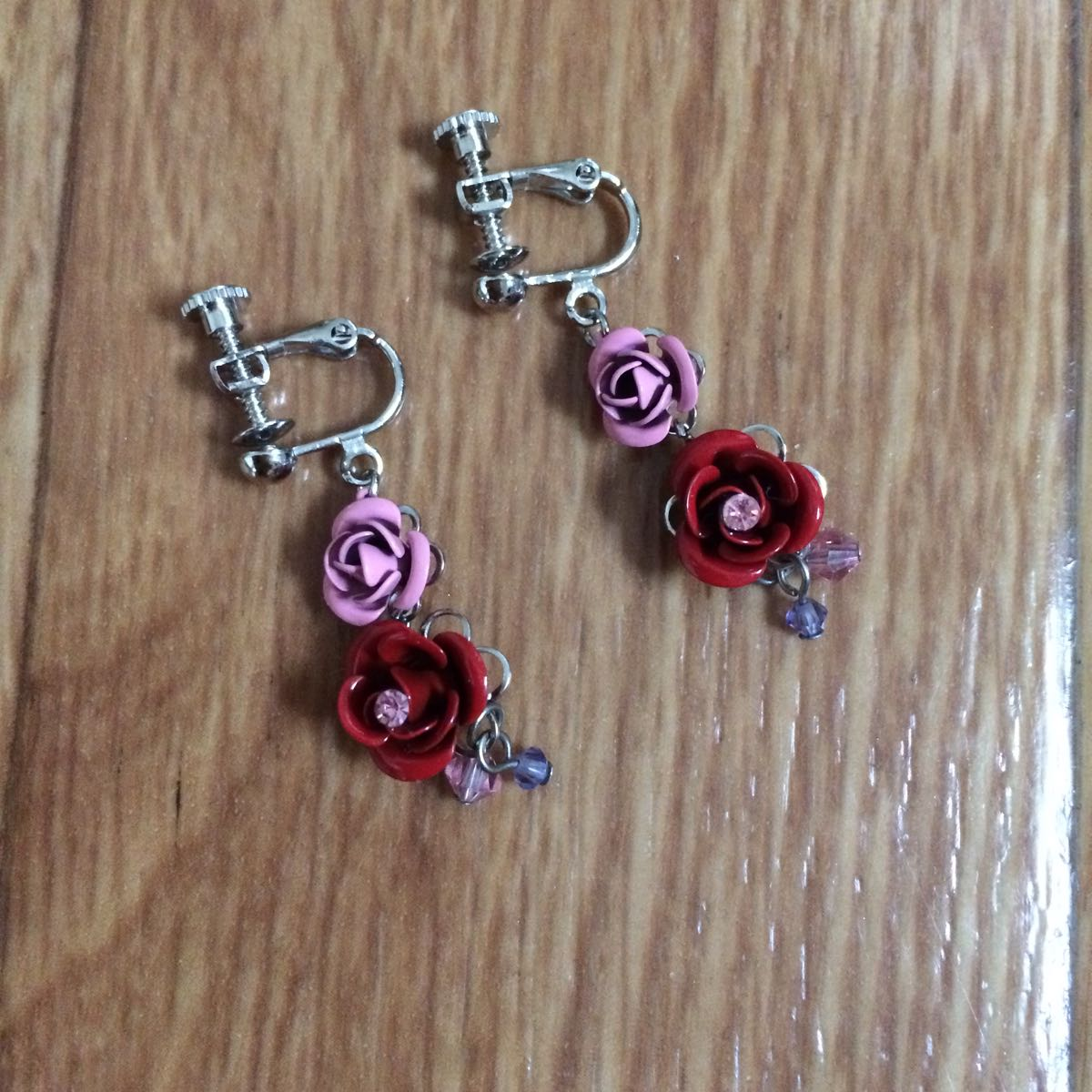 Rose Earring Red Pink